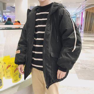 Contrast-trim Hooded Padded Zip Jacket