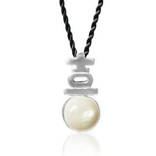 Mother Of Pearl Pendant With Silk Cord