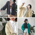 Puff-sleeve Open Front Cardigan