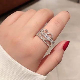 Rhinestone Layered Heart Ring