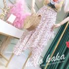 Floral Print Asymmetrical A-line Chiffon Skirt