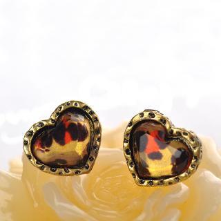 Leopard Print Heart Earrings  Brown - One Size