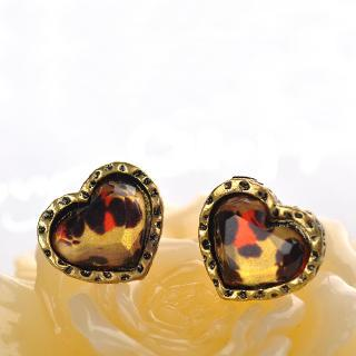 Leopard Print Heart Earrings  Brown - One Size