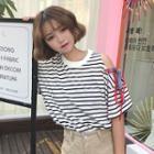 Stripe Open Shoulder Short-sleeve T-shirt