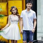 Couple Matching Embroidered Short Sleeve Polo Shirt/ Sleeveless A-line Dress