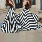 Lace Panel Striped A-line Maxi Dress