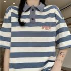 Loose Fit Short-sleeve Striped Polo Shirt