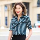 Striped Short-sleeve Shirt / Wide-leg Pants