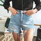 Asymmetric Distressed Washed Denim Shorts