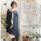 Long-sleeve Scarf-accent Dress
