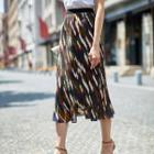 Print Midi A-line Skirt