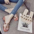 Block-heel Studded Slippers