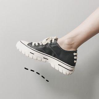 Faux Leather Lace-up Back Sneakers
