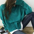 Mock-neck Distressed Sweater