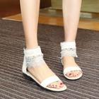Lace Ankle-strap Flat Sandals