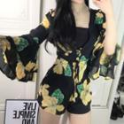 Floral Print Deep Plunge Bell-sleeve Playsuit