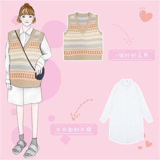 Set : Shirt Dress + V-neck Geometric Knit Vest