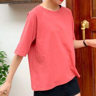 Plain Tie-back Short-sleeve Top