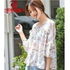Floral Elbow-sleeve Chiffon Blouse