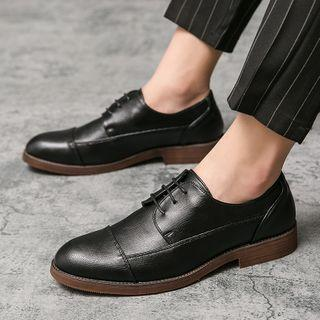 Faux-leather Panel Lace-up Shoes