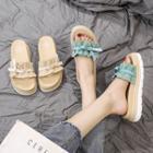 Frilled Faux Leather Slide Sandals