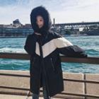 Color Panel Hooded Zip Coat