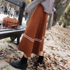 Striped Trim Midi A-line Skirt
