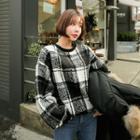Checked Oversized Fleece Sweatshirt