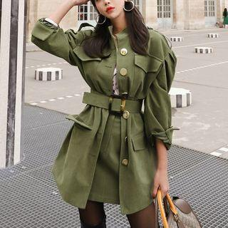 Set: Belted Trench Coat + High-waist A-line Skirt
