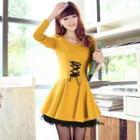 Lace Hem Lace-up A-line Dress