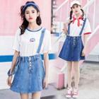 A-line Denim Jumper Skirt