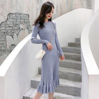 Long Sleeve Ruffled Hem Knitted Dress