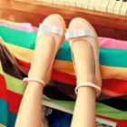Platform Bow Strapped Flats