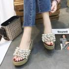 Rhinestone Pearl Espadrille Wedge Slide Sandals