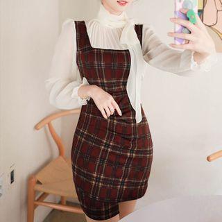Inset Scarf-neck Blouse Plaid Dress