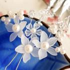 Faux Pearl Floral Fringed Hair Pin