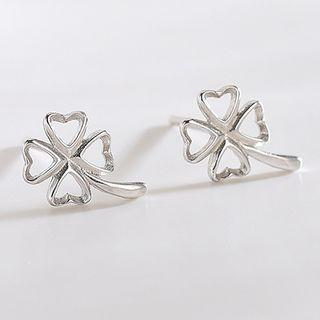 925 Sterling Silver Clover Earring 925 Silver - Es311 - 1 Pair - One Size
