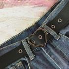 Heart Buckle Faux Leather Belt Heart Buckled - Black - One Size