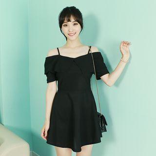 Ruffle-trim Off-shoulder A-line Dress