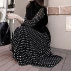 Dotted Long Sleeve Maxi Dress