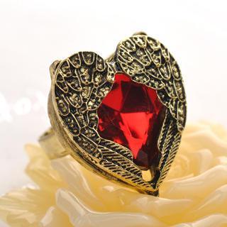 Rhinestone Heart Ring  Copper - One Size