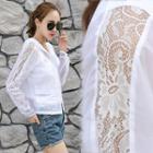 Lace Panel Hooded Zip Jacket