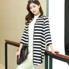 3/4-sleeve Stripe Long Zip Jacket