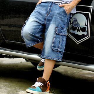 Denim Wide-leg Cargo Capri Pants