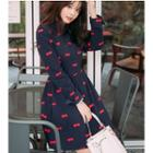 Bow Print Collared Long Sleeve A-line Dress