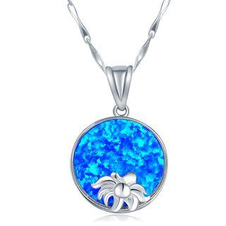 925 Sterling Silver Synthetic Blue Stone Necklace