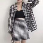 Plaid Shirt / A-line Skirt