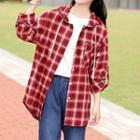 Embroidered Plaid Long Sleeve Hooded Shirt
