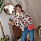 Round-neck Leopard Furry Sweater