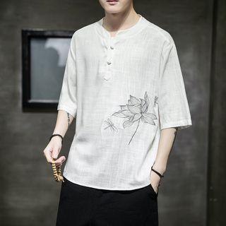 3/4-sleeve Floral Embroidered Henley T-shirt